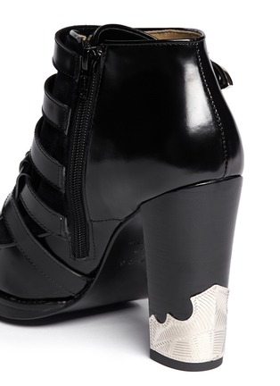 Detail View - Click To Enlarge - TOGA ARCHIVES - Velvet panel leather fringe buckle booties