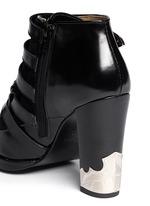 Velvet panel leather fringe buckle booties
