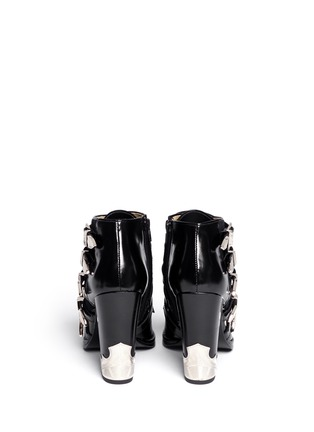 Back View - Click To Enlarge - TOGA ARCHIVES - Velvet panel leather fringe buckle booties