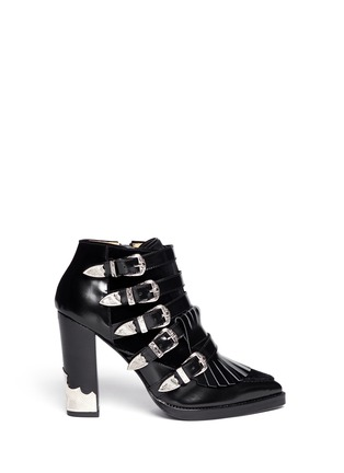 TOGA ARCHIVES-Velvet panel leather fringe buckle booties