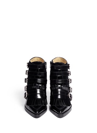 Figure View - Click To Enlarge - TOGA ARCHIVES - Velvet panel leather fringe buckle booties