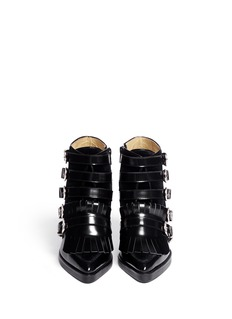 TOGA ARCHIVES Velvet panel leather fringe buckle booties