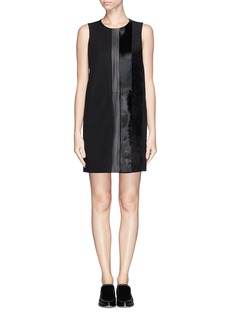 THEORY 'Elso' calf hair suede leather panel dress