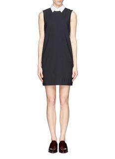 THEORY'Audrice' detachable collar pinstripe sleeveless shirt dress