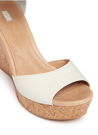 Detail View - Click To Enlarge - Ugg Australia - 'Jacinda' serape beaded leather cork wedge sandals