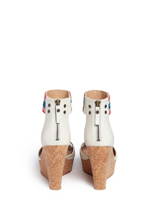 Back View - Click To Enlarge - Ugg Australia - 'Jacinda' serape beaded leather cork wedge sandals