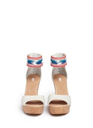Front View - Click To Enlarge - Ugg Australia - 'Jacinda' serape beaded leather cork wedge sandals
