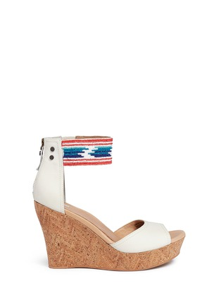 Main View - Click To Enlarge - Ugg Australia - 'Jacinda' serape beaded leather cork wedge sandals