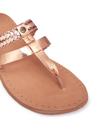 Detail View - Click To Enlarge - Ugg Australia - 'Audra' metallic braided leather combo sandals