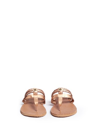 Front View - Click To Enlarge - Ugg Australia - 'Audra' metallic braided leather combo sandals