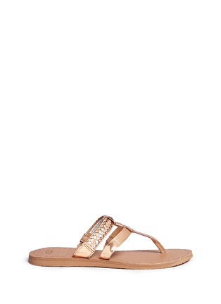 Main View - Click To Enlarge - Ugg Australia - 'Audra' metallic braided leather combo sandals