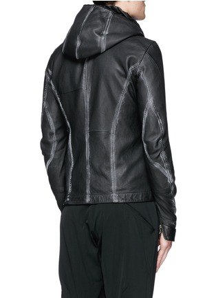 Back View - Click To Enlarge - DEVOA - Leather hood jacket