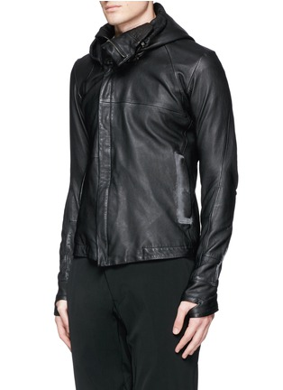 Front View - Click To Enlarge - DEVOA - Leather hood jacket