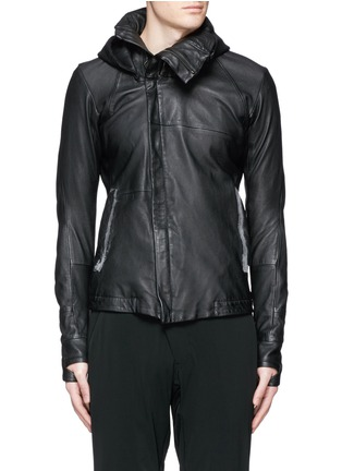 Main View - Click To Enlarge - DEVOA - Leather hood jacket