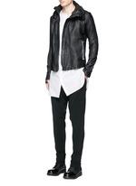 Leather hood jacket