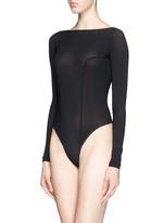 Backless long sleeve T-strap bodysuit
