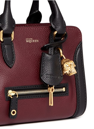 Detail View - Click To Enlarge - Alexander McQueen - 'Padlock' mini bicolour leather tote bag