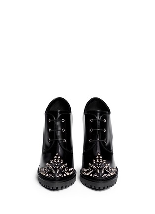 Figure View - Click To Enlarge - Alexander McQueen - Stud toe leather lace-up booties