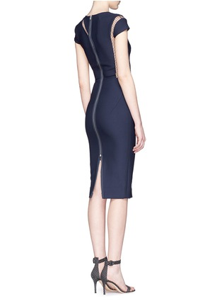 Back View - Click To Enlarge - Victoria Beckham - Plumetis insert compact crepe dress