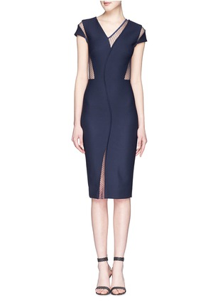 Main View - Click To Enlarge - Victoria Beckham - Plumetis insert compact crepe dress
