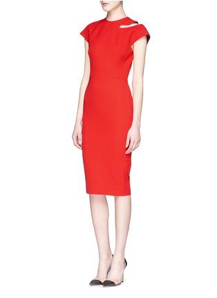 Figure View - Click To Enlarge - Victoria Beckham - Cap sleeve cutout shoulder dress