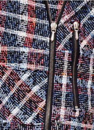 Detail View - Click To Enlarge - Victoria Beckham - Bouclé check tweed biker jacket