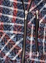 Bouclé check tweed biker jacket