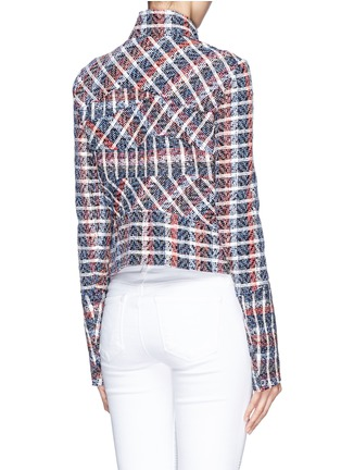 Back View - Click To Enlarge - Victoria Beckham - Bouclé check tweed biker jacket