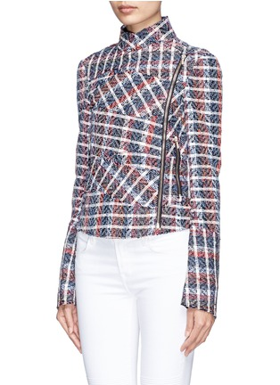 Front View - Click To Enlarge - Victoria Beckham - Bouclé check tweed biker jacket