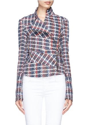 Main View - Click To Enlarge - Victoria Beckham - Bouclé check tweed biker jacket