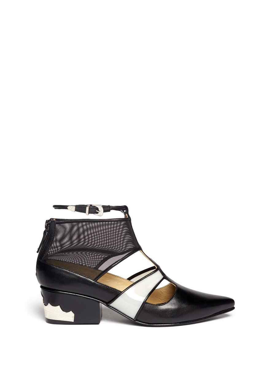 Mesh cut-out leather booties