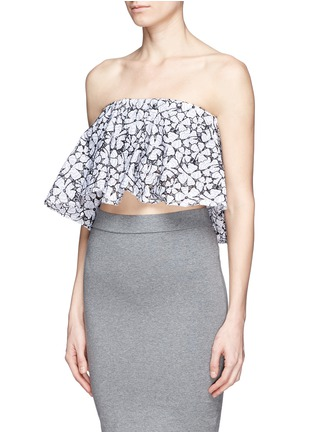 Front View - Click To Enlarge - MSGM - Floral lace ruffle strapless top