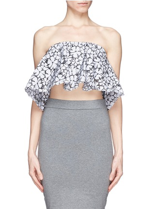 Main View - Click To Enlarge - MSGM - Floral lace ruffle strapless top