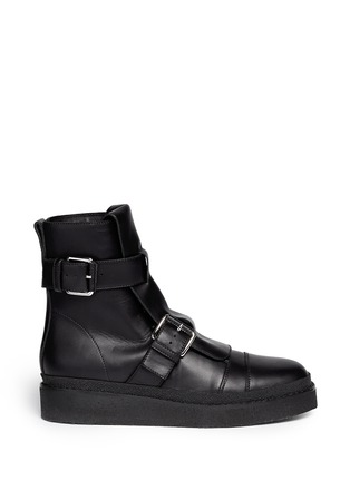 Main View - Click To Enlarge - Marni - Concealed lace-up buckle combat boots