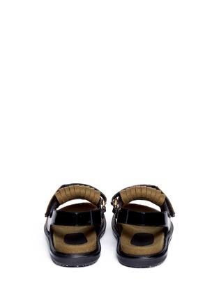 Back View - Click To Enlarge - Marni - Felt fringe leather sandals