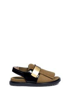 MARNIFelt fringe leather sandals