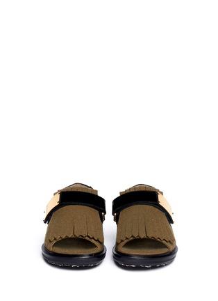 Figure View - Click To Enlarge - Marni - Felt fringe leather sandals