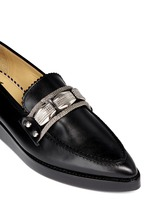 Hardware leather loafers