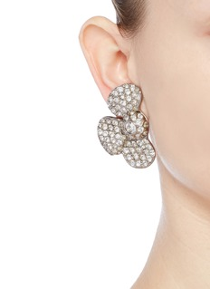 STAZIA LOREN Diamanté floral clip earrings