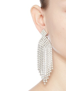 STAZIA LOREN Diamanté fringe clip earrings