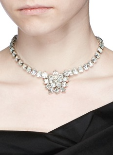 STAZIA LOREN Vintage detachable snowflake brooch diamanté necklace
