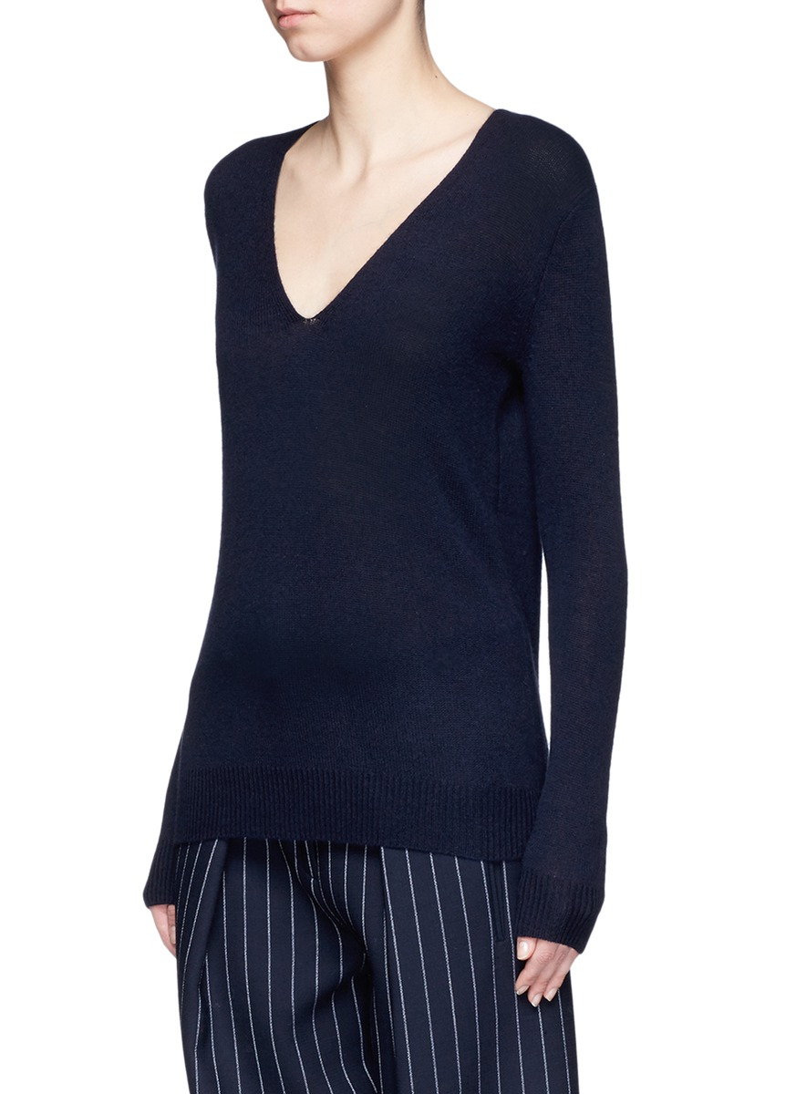 THEORY 'Adrianna Rl' Cashmere V-Neck Sweater in Jet Navy | ModeSens