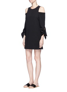 Tibi Tie sleeve cold shoulder crepe dress