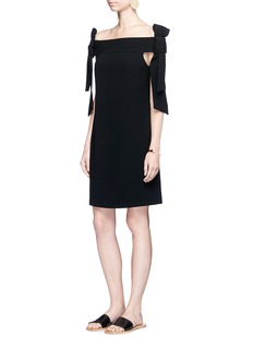 Tibi Half bow tie off-shoulder crepe dress