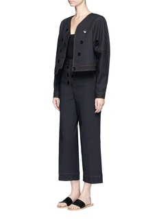 Tibi Topstitch cropped stretch jacket