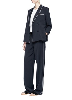 Tibi 'Spectator' contrast piping soft blazer
