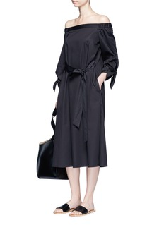 Tibi Tie sleeve off-shoulder satin poplin dress