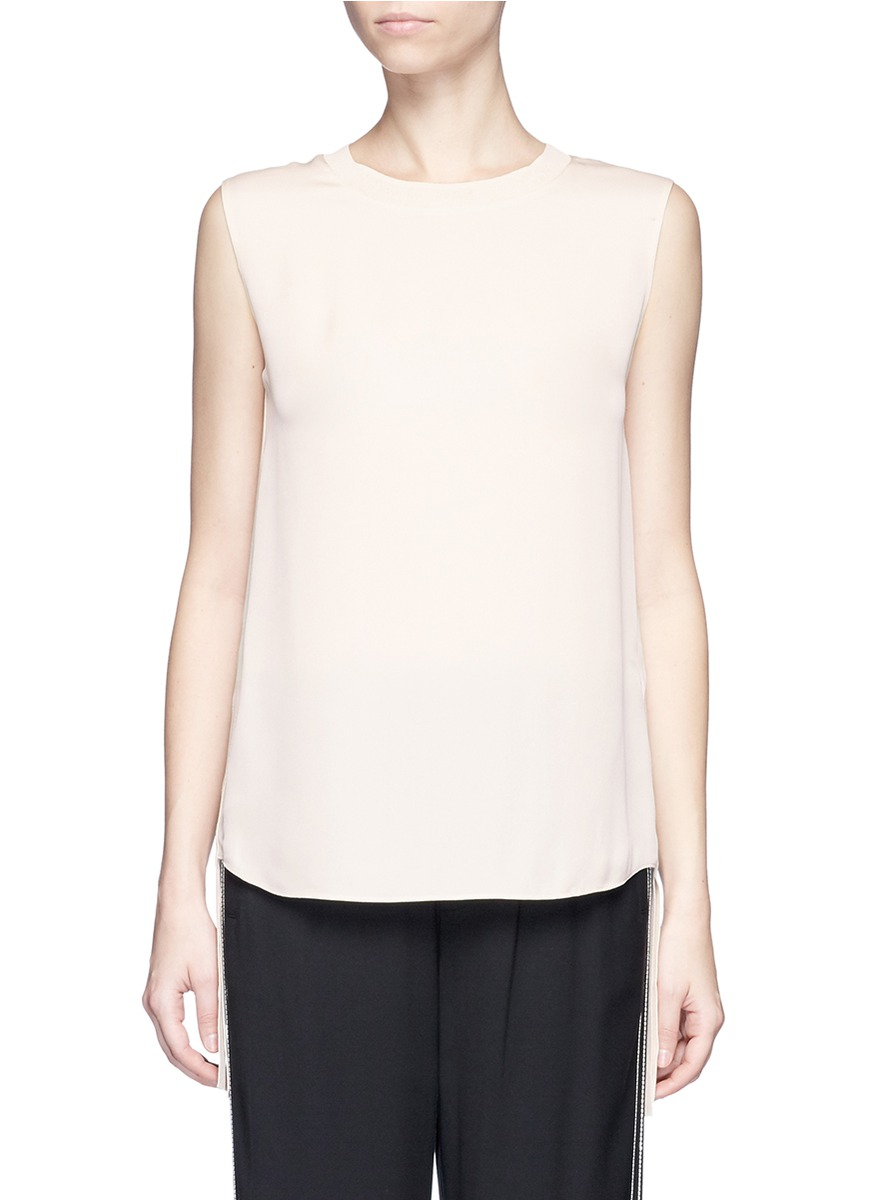 Knit sash sleeveless silk top by Vince