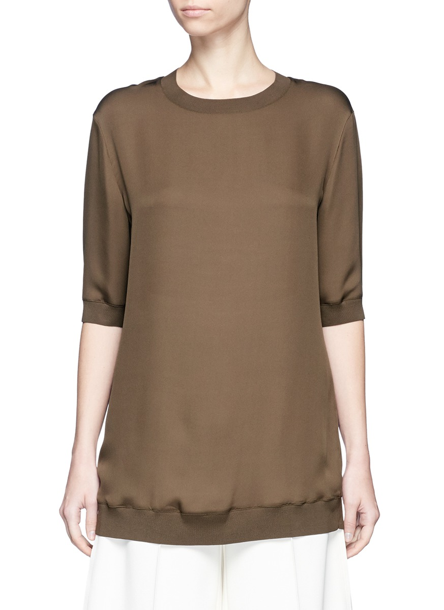 Ribbed trim silk tunic by Vince