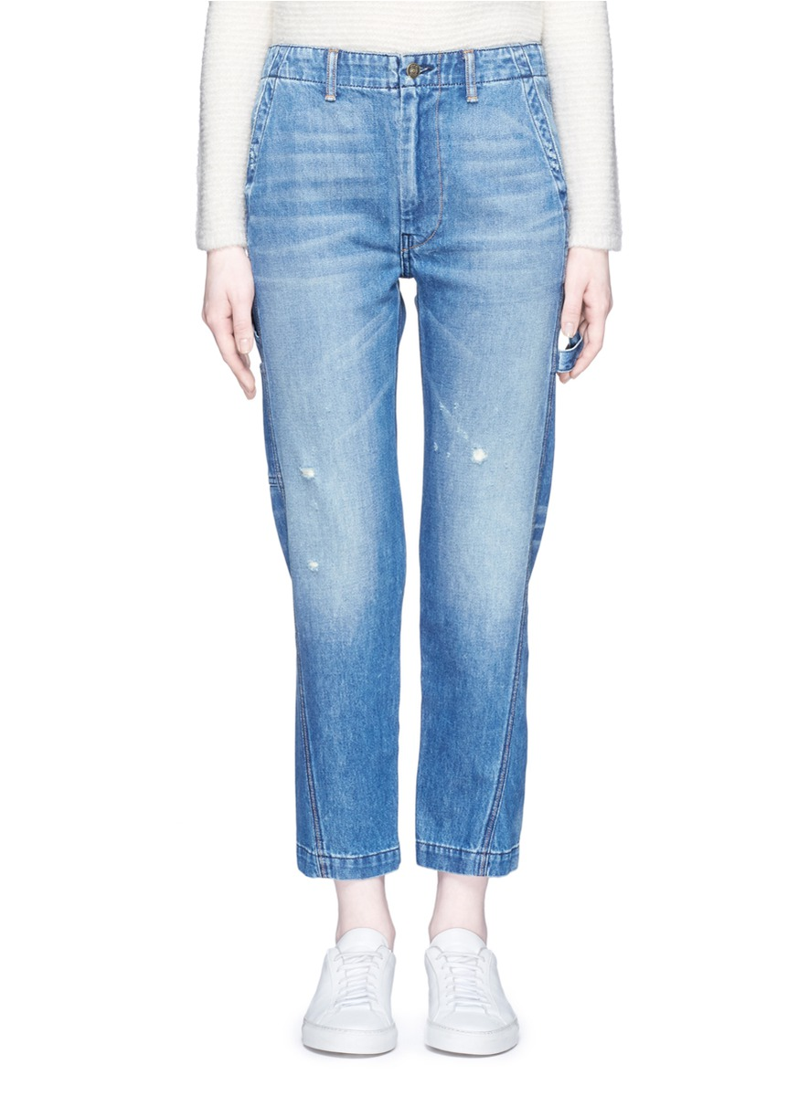 Twisted seam carpenter cropped denim pants by Vince